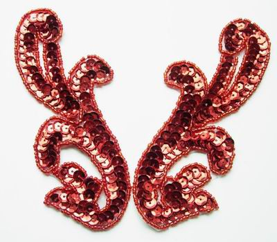 LR13 Pair Left & Right Sequin Bead Applique Red