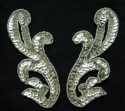 LR12 Pair Left & Right Sequin Bead Applique Silver