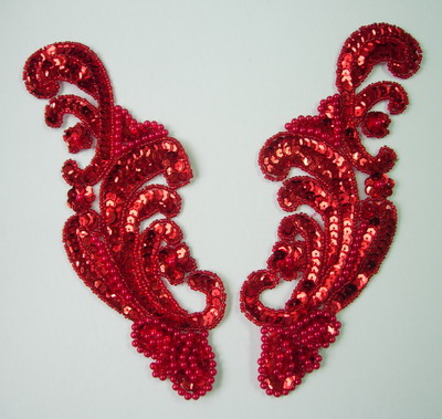 LR38 Wave Pattern LR Sequin Bead Applique Red