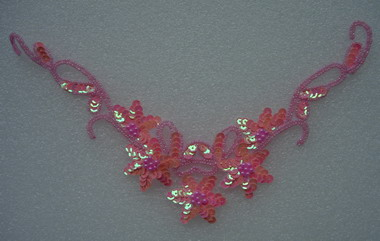 NK39-4 Sequin Bead Applique Flower Necklace Pink