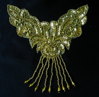 NK159 Fringed Necklace Thong Sequin Beaded Applique Motif Gold