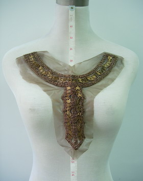 NK190 Antique Egypt Y-Collar Neckline Bugle Beaded Applique Brn