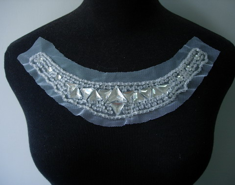 NK210 Gems Beaded Tulle Applique Neckline Collar White