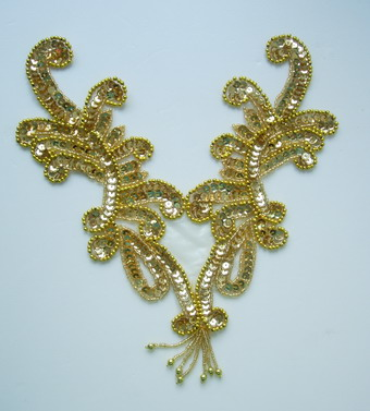 NK55 Fringed Sequin Bead Applique Curly Neckline Gold