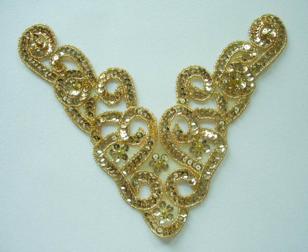 NK68 Sequin Bead Applique Motif Twist Necklace Gold