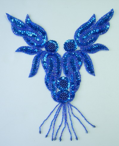 NK71-3 Roy Blue Flame Necklace Sequin Bead Applique Motif Fringe
