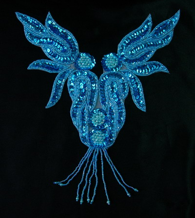 NK71-4 Aqua Flame Necklace Sequin Bead Applique Motif Fringe