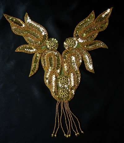 NK71-7 Gold Flame Fringed Necklace Sequin Bead Applique Motif