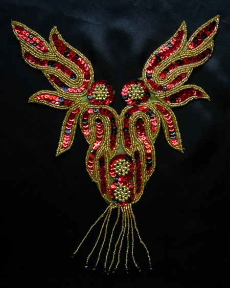 NK71 Red Flame Necklace Sequin Bead Applique Motif w/ Fringe