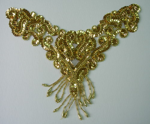 NK72 Sequin Bead Applique Motif w/ Fringe Necklace Thong Gold