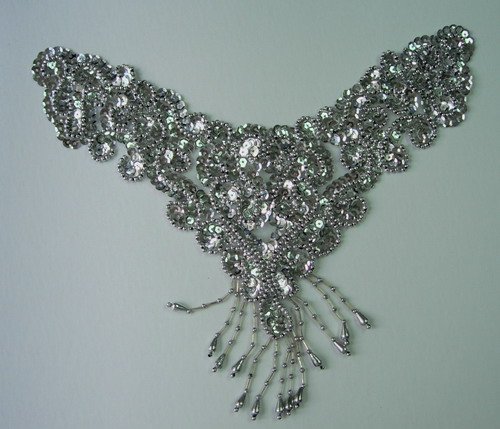NK73 Sequin Bead Applique Motif w/ Fringe Necklace Thong Silver