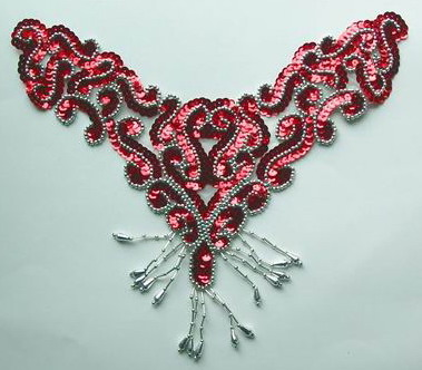 NK77 Sequin Bead Applique Motif w/Fringe Necklace Thong Red Silv