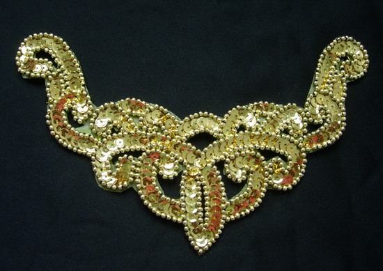 NK09 Necklace Sequin Bead Applique Gold