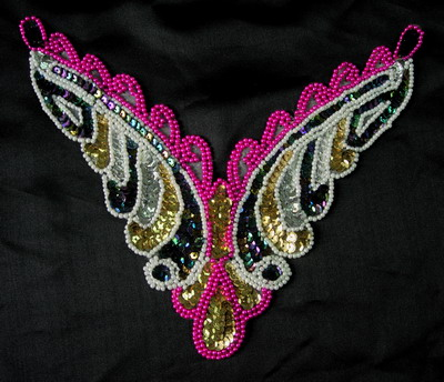 NK100 Sequin Bead Applique Multicolor Necklace Collar