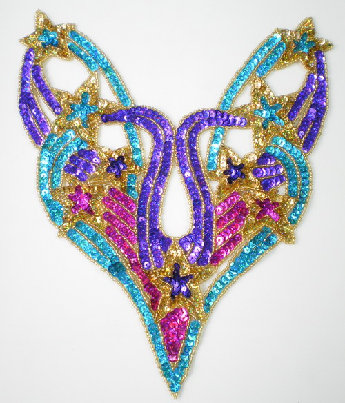 NK104 Sequin Bead Applique Necklace for Belly Dance Skating Tutu