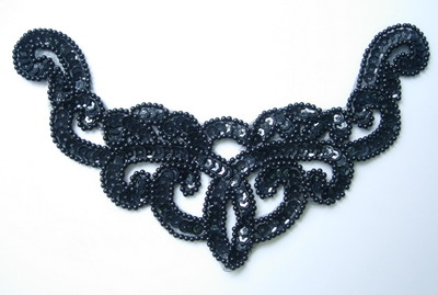 NK15-2 Necklace Sequin Bead Applique Black for Dancewear