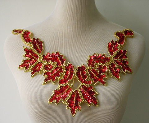 NK17 Necklace Sequin Bead Applique Hologram Red