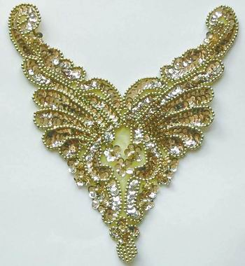 NK24 Gold Sequin Bead Applique Necklace