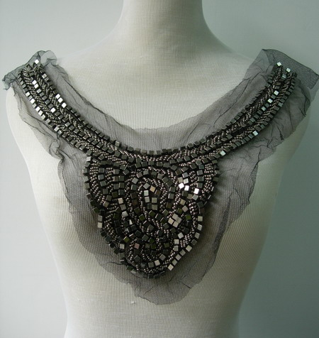 NK247Silver Metallic Beaded Netting Applique Neckline Bodice