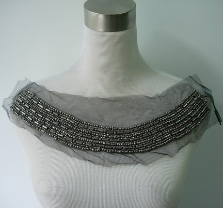 NK257 Gun-Silver Beaded Bugle Netting Applique Collar Neckline