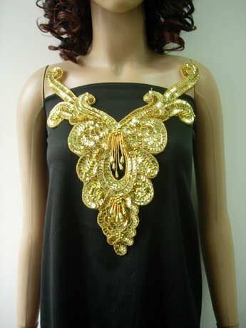 NK26 Gold Fringed Sequin Bead Applique Necklace Bodice