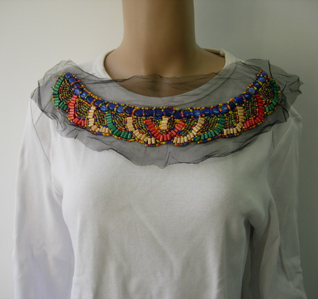 NK262 BOHO Ethnic Collar Neck Wood Beaded Tulle Applique Motif