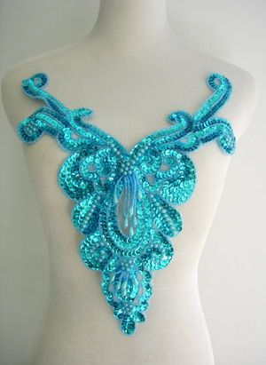 NK27-4 Aqua Sequin Bead Applique Victorian Necklace Bodice