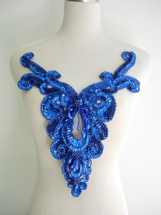 NK27-6 Royal Blue Sequin Bead Applique Victorian Necklace Bodice
