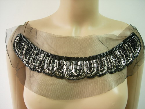 NK279 Antique Silver Black Beaded Bugle Neckline Tulle Applique
