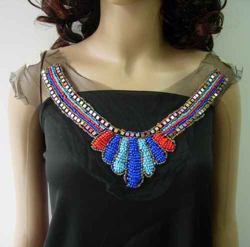 NK284 Multicolor Neckline Collar Studs Beaded Tulle Applique