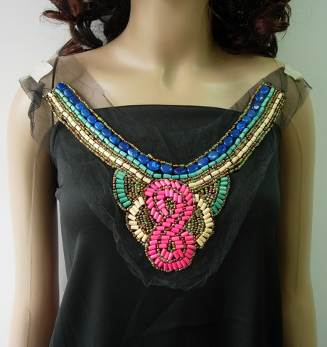 NK285 Embellished Neckline Collar Stones Beaded Tulle Applique