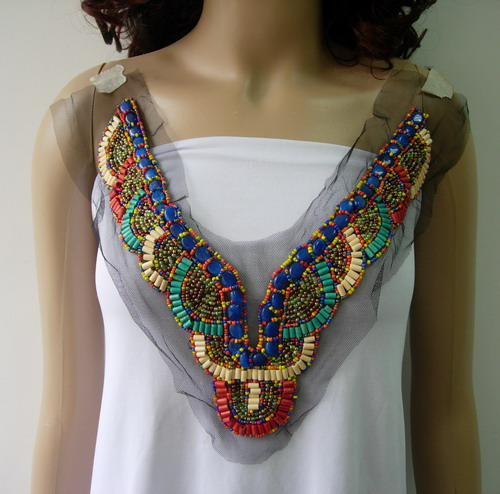 NK288 BOHO Chic Neckline Colorful Beaded Tulle Applique Jewelry