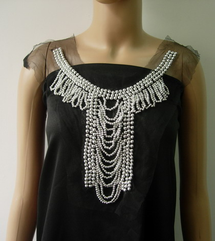 NK316 Chic Fringed Collar Front-Neck Beaded Tulle Applique Silve