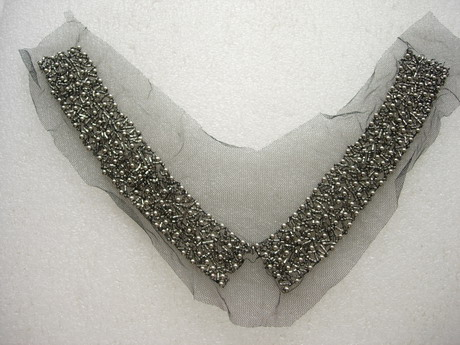 NK353 Antique Silver Beaded Bugle Tulle Applique V-Neckline