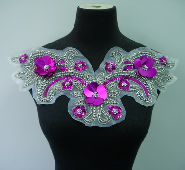 NK65-4 Sequin Beaded Applique Fantastic Neckine Collar Fuchsia