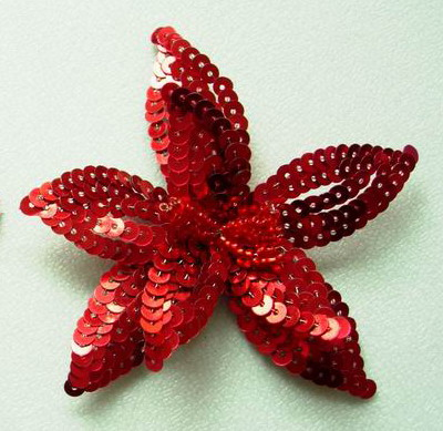 SB01 Sequin Bead Motif Brooch Pin Shoes Applique Red 2pcs