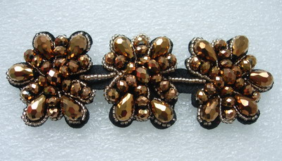 SB219 Floral Rhinestone Beaded Applique Fashion Motif Brown