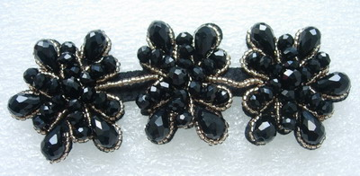 SB220 Floral Rhinestone Beaded Applique Fashion Motif Black