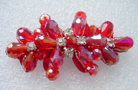 SB221 Red Teardop Rhinestone Diamante Beaded Applique