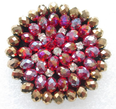 SB224 Brown Red Rhinestone Diamante Jewelry Brooch Motif