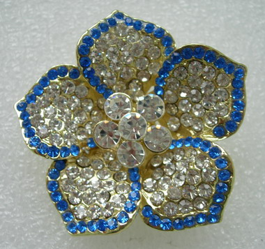 JW08 Trendy Rhinestone Crystal Petals Flower Brooch Pin Blue