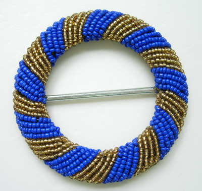 SB101 Round Buckle Bugle Beaded Buckle O-Grid Blue Gold Handmade