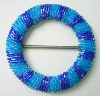 SB103 Unique Design Round Beaded Buckle w/Grid 2Tone Blue