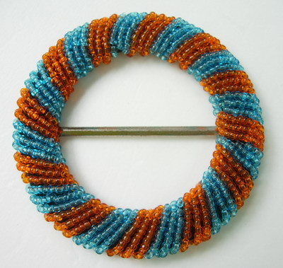 SB104 Handmade Unique Round Beaded Belt Buckle Grid Orange Blue