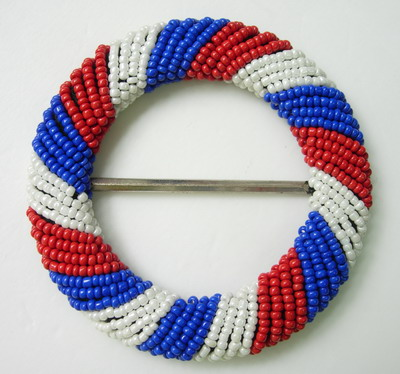 SB107 Fashion Belt Buckle Grid Round Bead Buckle Red White Blue