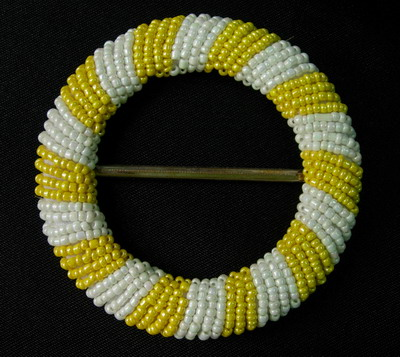 SB110 Shinny Belt Buckle Grid Round Bead Buckle Yellow White