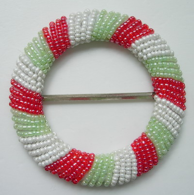 SB111 Shinny Belt Buckle Grid Round Bead Buckle Red White Green