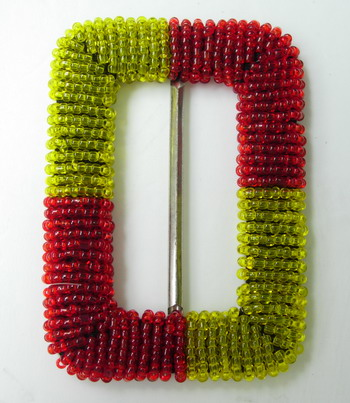 SB113 Shinny Belt Buckle Grid Square Beaded Buckle Red Yellow