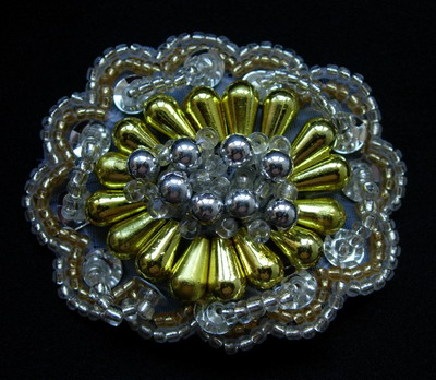 SB119-2 Vintage Style Beaded Jewelry Applique Motif Silver Gold