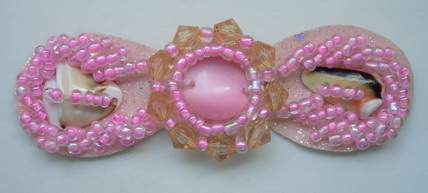 SB121 Bow Style Cateye Stone Beaded Jewelry Applique Jewel Pink